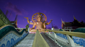 Big buddha on samui island after sunset Stock Images