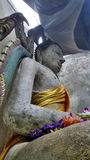 Big Buddha sculpture  under canvas roof in sunken temple Stock Images