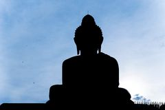 Big Buddha Silhouette Royalty Free Stock Images