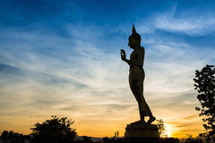 Big buddha. Silhouette on sunset Stock Photo