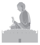 Big Buddha Sitting Statue Grayscale Vector Illustration Royalty Free Stock Images