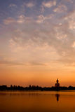 Big buddha statue against sunset Royalty Free Stock Image