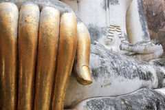 Big buddha statue golden fingers sukhothai Stock Image