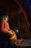 Big buddha statue and Mini Monk i Stock Photos