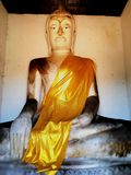 The big buddha statue. In the old temple has a famous and very big buddha statue. Has a long and respected history Stock Photo
