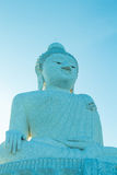 Big buddha statue,Phuket ,Thailand. Big Buddha Statue width: 25.45 m. height: 45 m. Reinforced concrete structure adorned with white Burmese jade marble stock image