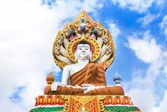 Big buddha statue sitting in public thai temple Stock Images