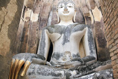 Big buddha statue sukhothai wat temple thailand Stock Photo