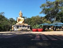 Big Buddha statue in Thai temple royalty free stock photography