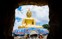 Big Buddha statue, viewed from the cave. Royalty Free Stock Image