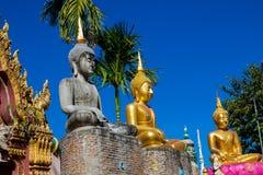 Big Buddha statues in thai buddhist wat temple Royalty Free Stock Image