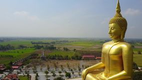 Big Buddha of Thailand, Aerial scene from sky Drone fly forward stock video