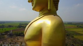 Big Buddha of Thailand, Aerial scene from sky Drone fly up stock video footage