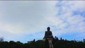 The big Buddha (Tian Tan Buddha) in Lantau Island stock footage