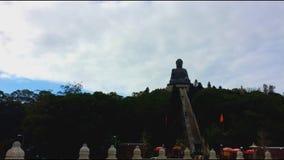 The big Buddha (Tian Tan Buddha) in Lantau Island stock video footage