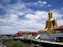Big Buddha of Wat Bangchak at Nonthaburi Thailand. Wat Bangchak at Ko Kret, Pakkred, Nonthaburi, Thailand. Wat Bang Jak It is an old Raman (Mon) monastery on the royalty free stock photo