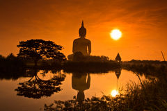 Big Buddha at Wat Mung in the sunset, Thailand Royalty Free Stock Images