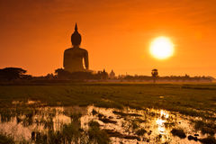 Big Buddha at Wat Mung in the sunset, Thailand Royalty Free Stock Photography
