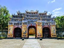 Big buddhist gate in citadel in Vietnam stock photos