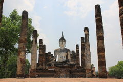 Big buddhist statue. In the old temple royalty free stock image