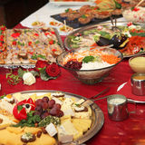 Big buffet with many dishes-square Stock Images