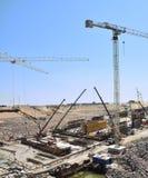 Big build. Tunnel construction. Cranes Royalty Free Stock Photos