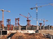 Big build. Stadium construction. Cranes Royalty Free Stock Images