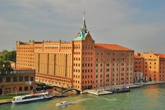 Hilton Molino Stucky is a luxurious Venetian hotel. Housed in a restored mill (flour grinding plant) on the shore of the island of Giudecca Stock Image
