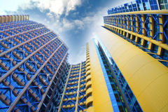 Big building. Big blue and yellow building Stock Images