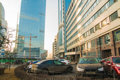 Big building on the street of Moscow city in 2017 Stock Photo