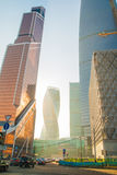 Big building on the street of Moscow city in 2017 Royalty Free Stock Photography