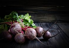 Big bunch of beet. On the wooden tabel Royalty Free Stock Photos