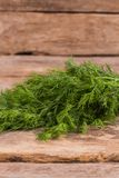 Big bunch of dill on wood. Close up. Old rustic wooden table Royalty Free Stock Images