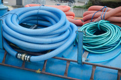 Big bunch of hoses and tube coils. The Big bunch of hoses and tube coils stock photography