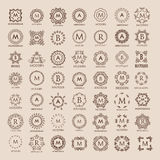 Big bunch of luxury, simple and elegant monogram design templates. Royalty Free Stock Photography