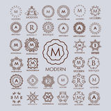 Big bunch of luxury, simple and elegant monogram design templates. Royalty Free Stock Photo