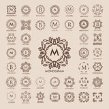 Big bunch of luxury, simple and elegant monogram design templates. Good for labels and logos. Vector illustration. Line style. Big set of monograms. Monogram Stock Photo