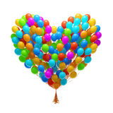 Big bunch of party balloons.Heart shape Royalty Free Stock Photography