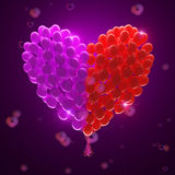 Big bunch of party balloons.Heart shape Royalty Free Stock Images