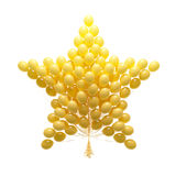 Big bunch of party balloons. Star shaped. Isolated on white back Stock Photos