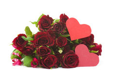Big bunch of red roses and hearts Royalty Free Stock Images