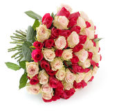 Big bunch of roses. Big bunch of beautiful red and pink roses on wit background with shadow Stock Images