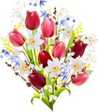 Big bunch of spring flowers royalty free illustration