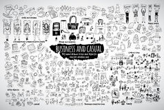 Big bundle business casual doodles icons and objects. Big bundle business and casual doodles icons and objects. Black and white vector illustration. EPS8 Stock Photo