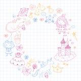 Cute princess Icons set with unicorn, dragon Girl wallpaper. Big Bundle cute collection of beautiful princesses Stock Image