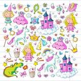 Cute princess Icons set with unicorn, dragon Girl wallpaper. Big Bundle cute collection of beautiful princesses Royalty Free Stock Image