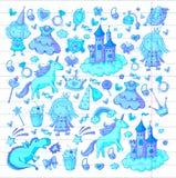 Cute princess Icons set with unicorn, dragon Girl wallpaper. Big Bundle cute collection of beautiful princesses Royalty Free Stock Photo