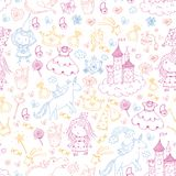 Cute princess Icons set with unicorn, dragon Girl wallpaper. Big Bundle cute collection of beautiful princesses Stock Images