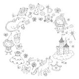 Cute princess Icons set with unicorn, dragon Girl wallpaper. Big Bundle cute collection of beautiful princesses Royalty Free Stock Photo