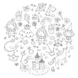 Cute princess Icons set with unicorn, dragon Girl wallpaper. Big Bundle cute collection of beautiful princesses Stock Image